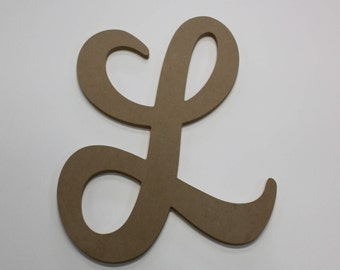 large unfinished wooden letters