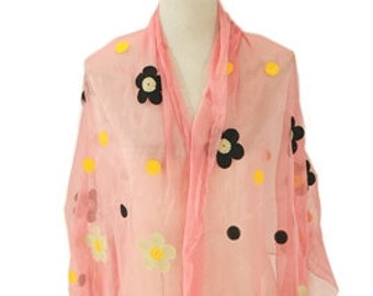 Daisy Shiny lightweight Pink Scarf / Spring Summer Scarf / Womens Scarves / Gift for Her / Accessories / Handmade