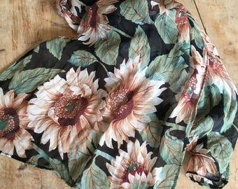 90's Floral Silk chiffon scarf