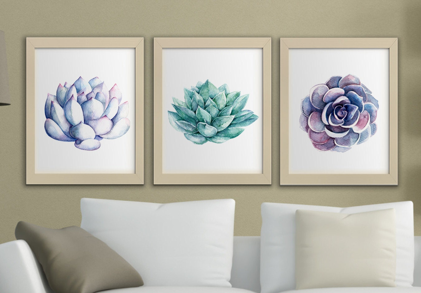 succulents printable watercolor wall art set of 3 succulent. Black Bedroom Furniture Sets. Home Design Ideas