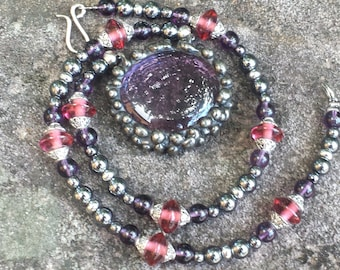 Light Amethyst Stained Glass Gem Soldered Beaded Necklace by Indigo Mood