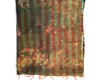 "Kantha Silk Fabric|XL - Scarf ""BAGULA"" |textile|handmade| high quality silk shawl| sari patchwork | embroidery | kantha stiching| stola |"