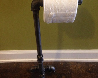 """Industrial Pipe Standard Toilet Paper Holder 18"""" Stand Free Standing Home / Bathroom Decor & Design"""