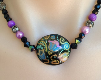 Statement necklace Bohemian jewelry  Boho necklace Choker Handpainted Necklace Jewelry Beaded necklace Folk art painting