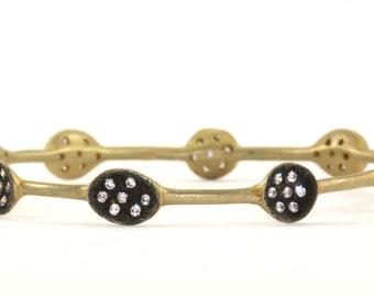 Vintage Antique Style CZ Crystal Bangle Bracelet 925 Sterling Silver BR 233-E