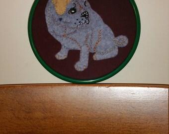 Handmade Pug Dog Hand Embroidery