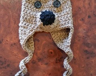 Newborn Crocheted Teddy Bear Hat