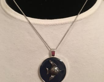 Angel Fish resin pendant necklace