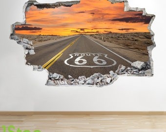 Route 66 Wall Sticker 3d Look - Bedroom Lounge Nature Wall Decal Z10