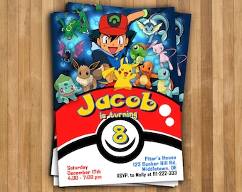 Pokemon Invitation. Pokemon Birthday Invitation. Pokemon Birthday Card. Pokemon Party. Pokemon GO Invitation. Pikachu Invitation.
