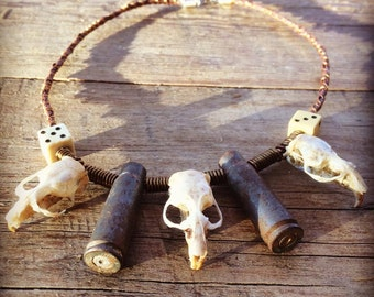 "Rat skull necklace - bullet necklace - dice - boho - hippie - unique - handmade - repurposed - joshua tree - desert - ""Three Blind Mice"""