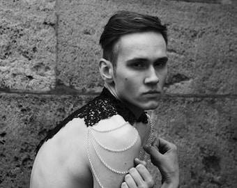 Men's Steampunk epaulettes. Victorian black lace collar. 'Body Tattoo' Burning Man