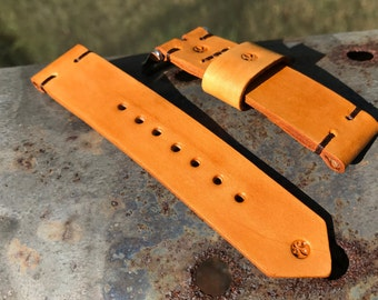 Vintage Leather Watch Strap - 22mm - Caramel