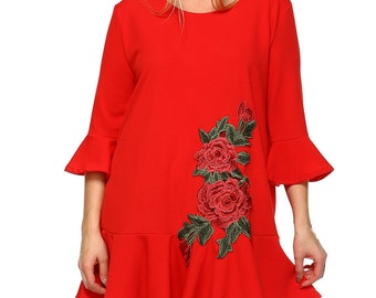 Rose Embroidery Tunic(Red)