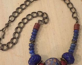 Old Nepal and Mosaic Indonesian Glass Bead Necklace with Blue Lapis