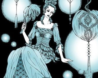 Lady Lantern Art Print