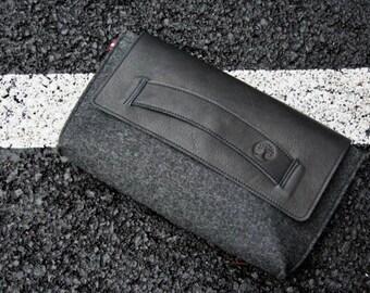 Leather Clutch Bag, Felt Envelope Clutch with Wrist Strap, Black Clutch Purse, Handmade Foldover Clutch Handbag, Wristlet, Gift for Her,