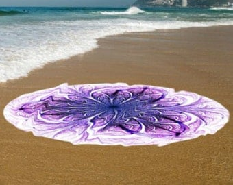 Purple floral Round beach towel, Round bohemian bath twowel/ beach towel