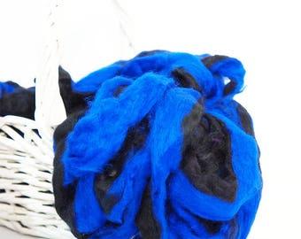 50g Blue Black Sari Silk Sliver, Silk Fibre, Wet Felting, Nuno Felting, Spinning, Felting Supplies