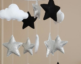 Baby cot mobile, baby mobile, Star baby mobile, cloud and glitter star mobile, monochrome mobile