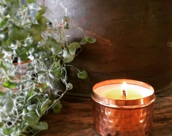 Wood Wick Soy Wax Candle in Copper Tin