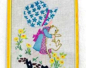 Vintage Hollie Hobbie Framed Embroidery,