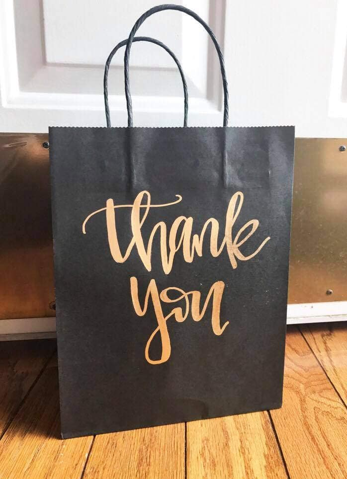Thank you gift bags craft paper bags gift bags wedding for Craft paper gift bags