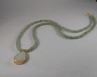 Green adventurine beaded necklace with pale green natural stone focal and toggle clasp