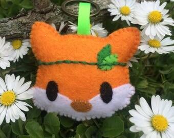 Cute bohemian felt fox keyring