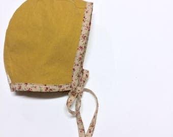 Baby Bonnet, Mustard Baby Bonnet, Floral Bonnet, Reversible Bonnet, Linen Bonnet, Brimmed Bonnet, Brimless Bonnet, Sun Bonnet