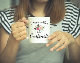 Real Estate Agent, Realtor Gift, I turn Coffee Into, Coffee Mug, Into Contracts, Funny Mug, Agent Gift, Office Mug, I Turn Coffee, Coffee