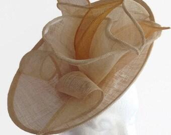 Occasion Hat, Natural Beige Cream Hat, Wedding Hat, Kentucky Derby Hat, Ascot Hat Gold Summer Party Hat, Large Percher, Natural Fascinator