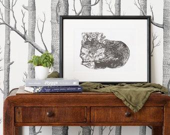 Fox linocut print   signed limited edition   handmade illustration   framed