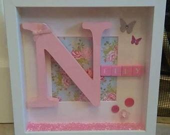 Girls Initial Frame, Personalised Gift, Baby Gift, New Born, Baby Girl Gift, Nursery Decor, New Born Gift, Babies Nursery, Girls Nursery