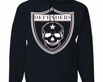 Black Defenders Hoodie.  50/50 Cotton Poly blend