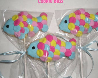 6 Rainbow Fish Cookie Pops Party Favors Kids Birthday Favors Decorated Cookies Baked Goods Cookie Lollipops Cookie Gifts Sugar Cookies