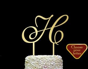 Letter H cake topper, Gold Initial Cake Topper, Wedding Cake Topper Single Letter, Single Letter Cake Topper, Monogram Cake Topper h, CT#081