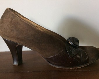 1940s Suede and Leather Pumps
