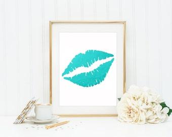 Valentine's Day Gift / Lips Print / Lips Wall Art / Teal Home Decor / Gold Home Decor / Romantic Gift / Glam Prints / Dorm Room Decor / Kiss