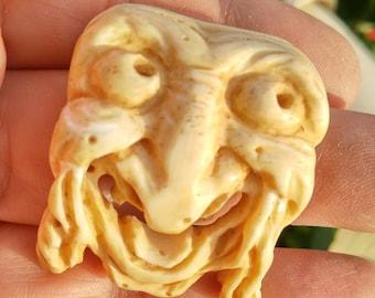 Carved Bone - Carving Art - Vintage Bone - Carved Bone Face - Hand Carving - Bone Mask - Laughing Mask