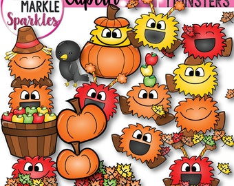 Fall Clipart, Autumn Clipart, Monster Clipart, Leaves Clipart, Apple Clipart,  Pumpkin Clipart, Scarecrow Clipart, Back to School Clipart
