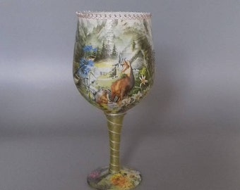 Woodland Mountain Scene Decorated Wine Glass