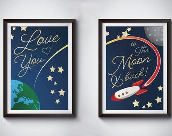Love You to the Moon & Back  Print - Wall Art