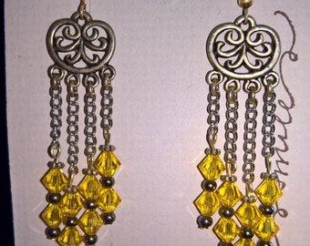 Yellow Swarovski crystal earrings