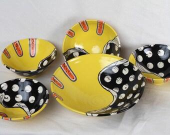 Ceramic bowl, ceramic bowl set,  yellow and black bowls, salad bowl, pasta bowl set, wedding gift,
