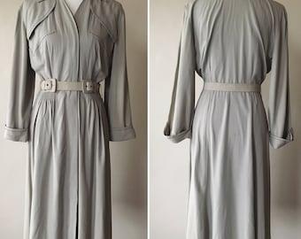 1940s Gabardine Dove Grey Dress