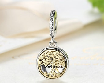 Authentic Sterling Silver charm tree of life family forever locket Charms Fits European & Pandora Charm Bracelet