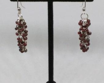 Garnet red earrings