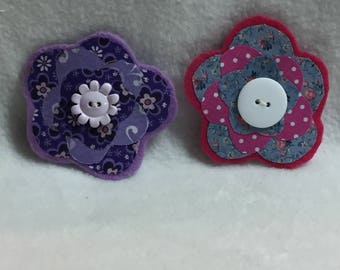 Flower Hair Clips - Set of 2 (#001.8)