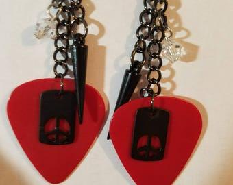 Red Guitar Pick Rocker earrings